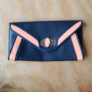 Navy & Coral Clutch